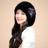 Hot Sales Winter Fur Berets Hats For Women Handmade Knit Natural Rex Rabbit Fur Caps With