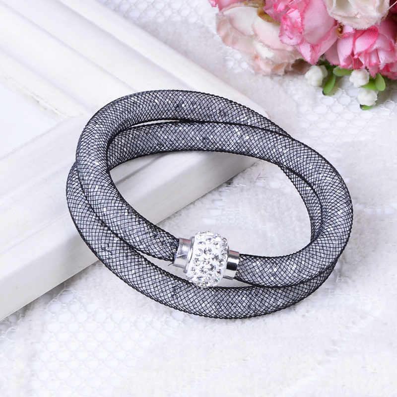 NEW Fashion Jewelry Handmade Stardust Crystal Rhinestone Bracelets Women Charm Bangle Wholesale