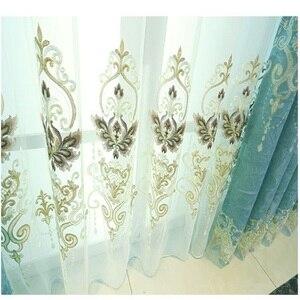 Image 2 - ヨーロッパスタイルシェーディング刺繍、リビングルーム、寝室のカーテンヴィラ、ローマカーテンロッド、ローリング、バックル、垂直、蝶カーテン