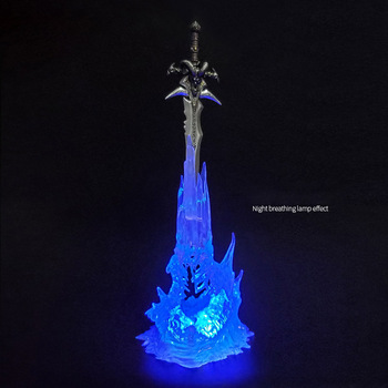 цена на Game the Lich King Arthas Menethil's Weapon Sword Frostmourne with LED Light Action Figure Figurines Model Toy statue T30
