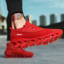 Купить с кэшбэком Blade Shoes Plus Size Men's Shoes 47 Breathable Running Shoes Mesh Training Shoes 46 New Style of 2019 Pure Color Casual Shoes