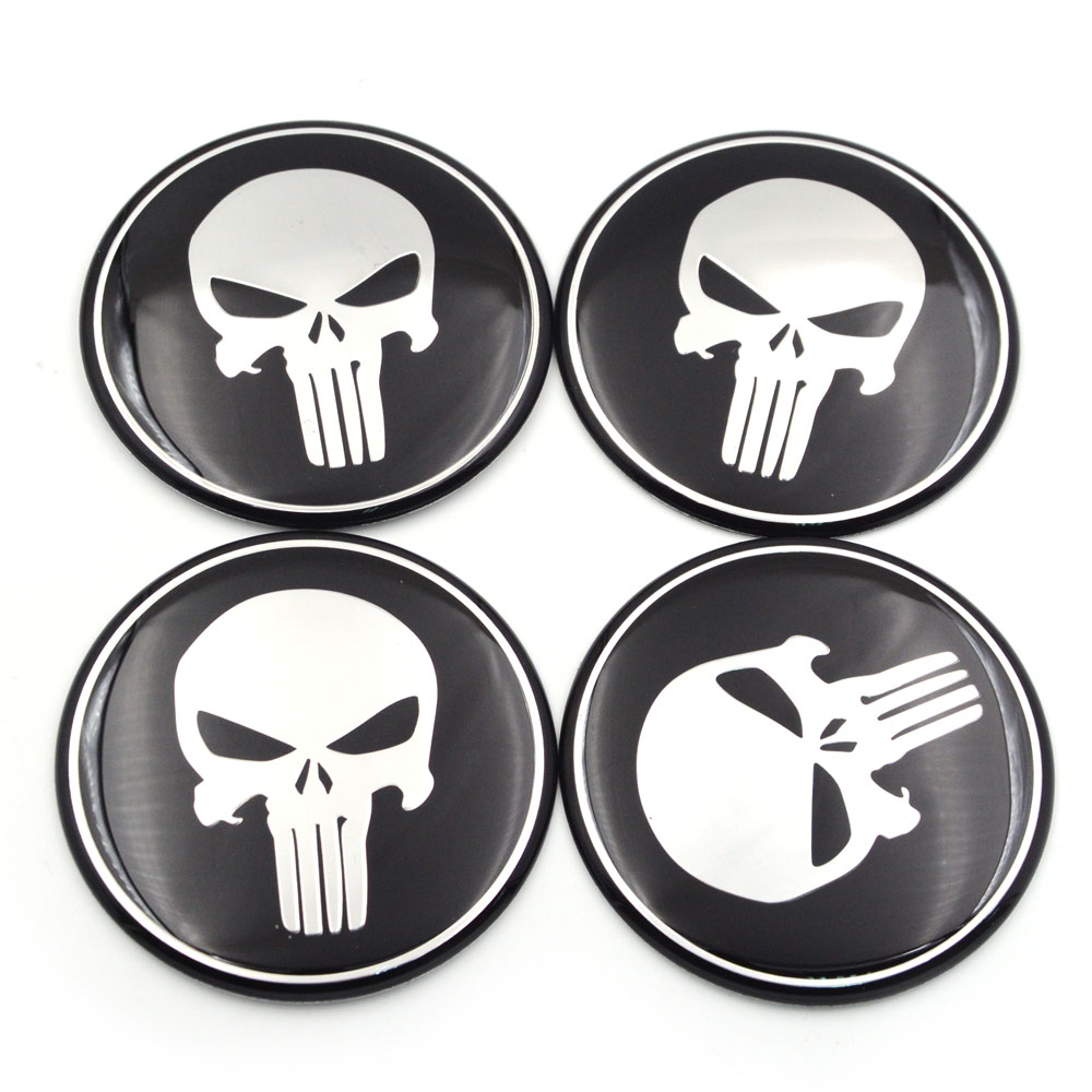 "4pcs Punisher Skull Wheel Center Cap Sticker Emblem Decals 2.2/"" 56mm Dome Logo"