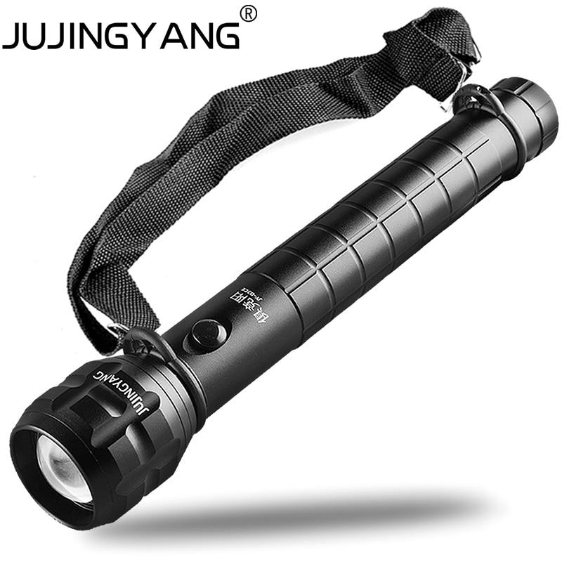 Kendini savunma alüminyum alaşımlı el feneri, Polis meşale feneri ile omuz askısı, 5 W LED Süper parlak taşınabilir ışıldak zoom