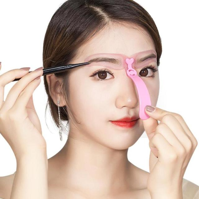 4pcs Reuse Eyebrow Stencils Beauty Tool Makeup Shaping Grooming Eye Brow Makeup Model Template Eyebrows Styling Tool New Hot 1