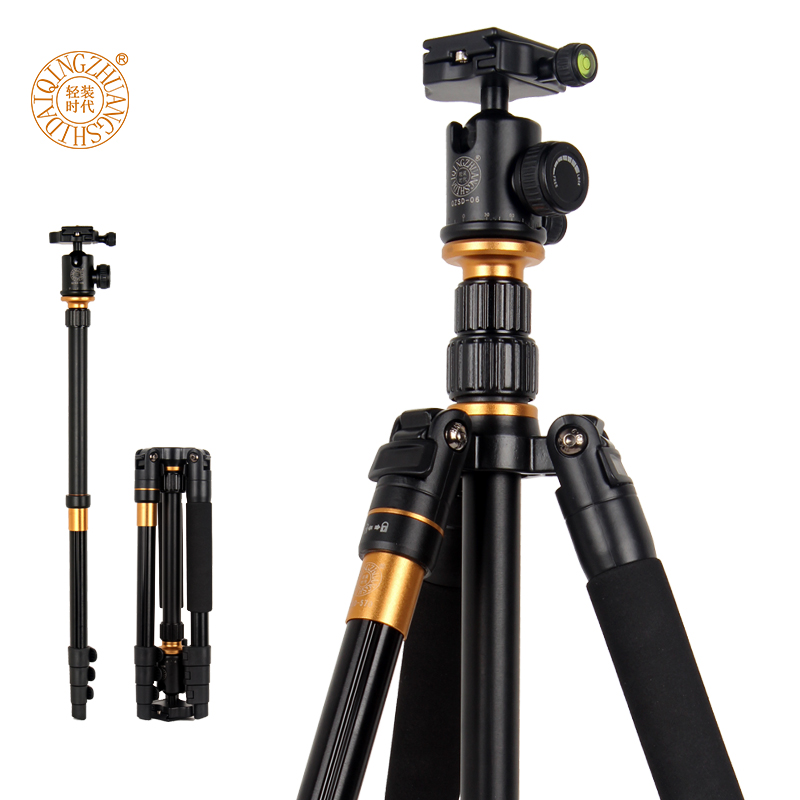 цены QZSD Q570 Portable Tripod Professional Camera Tripod Monopods For SLR Camera Tripod /Head Monopod Changeable for SLR DSLR Camera