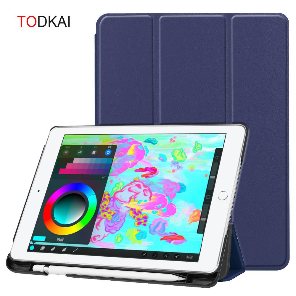 Magnetic Smart PU Leather Case for iPad 9.7 2018 2017 A1822 A1893 Tablet  Funda Cover With Pencil Holder Slot for ipad air 1 2 63ee92b92c55