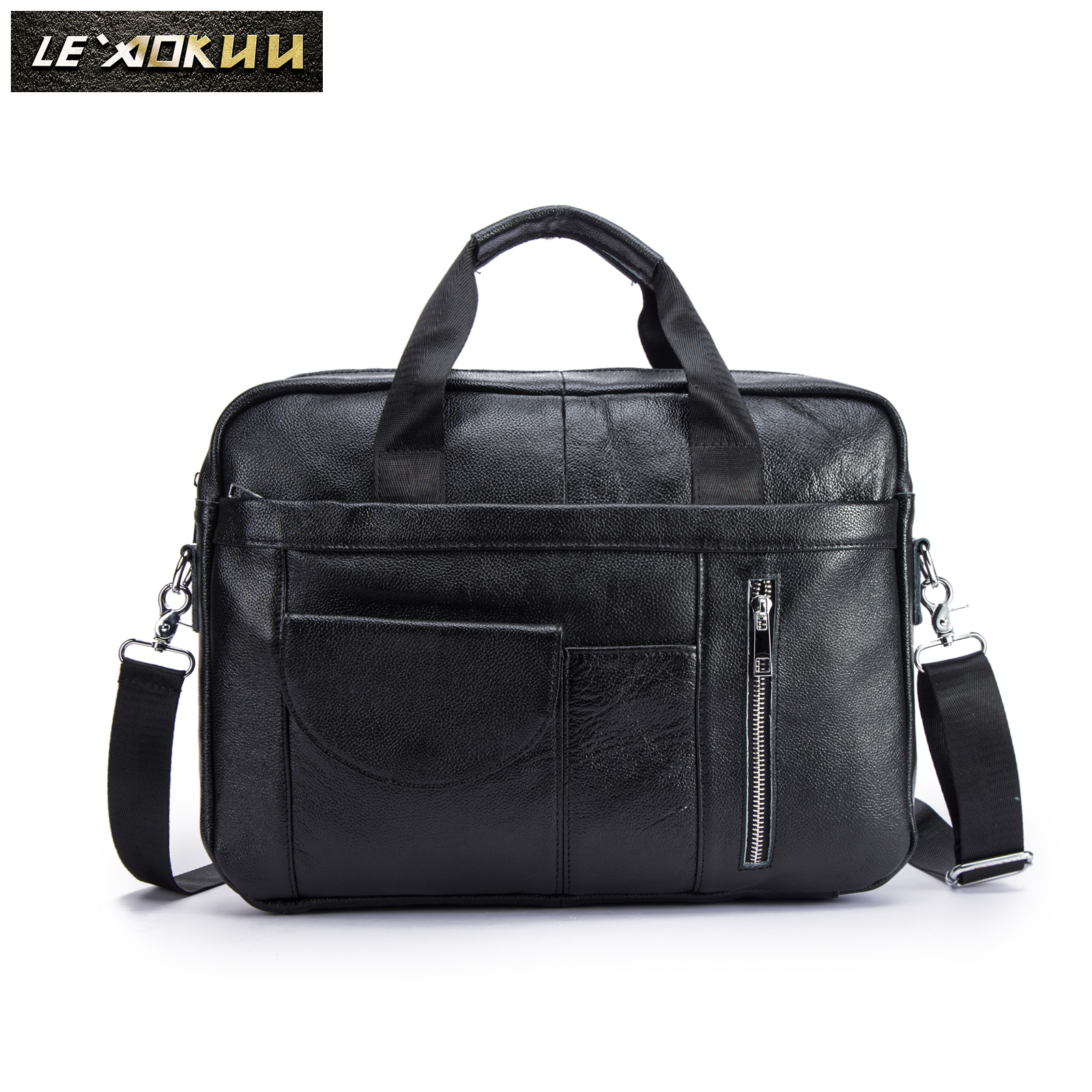 Men Quality Leather Vintage Fashion Travel Briefcase Business 15.6