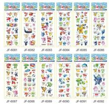цена на NEW 12pcs /set Super Wings stickers for kids Home decor on laptop cute car sticker decal fridge doodle toy Superwings 3D stick