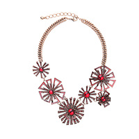 Fine Bijoux Geometric Flower Necklace Exaggerated Gothic Jewelry Glass Made Femme Collar Noble Maxi Necklaces