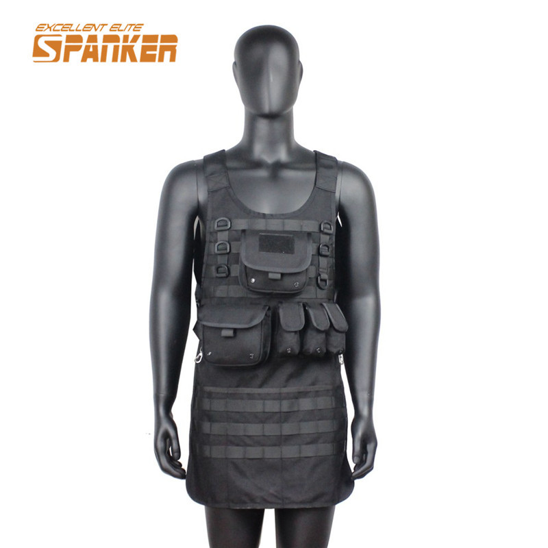 SPANKER 1000D Tactical Molle Vest With EDC Pouch Outdoor Army Military Airsoft Wargame Nylon Apron Wear Hunting Vests spanker 1000d camouflage tactical molle tank mechanic chef cooking grilling apron army training hunting waterproof nylon vest