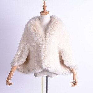 Image 4 - Kış kadın gerçek tavşan kürk örme tilki yaka ceket eğlence zamanı saf renk kürk ceket kadın moda kürk örgü yarasa gömlek