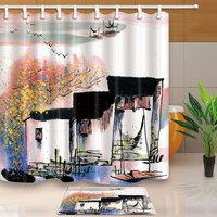 Asians Autumn Scenery Decor, Chinese Village Ink Jiangnan Watertown Shower Curtain Suit