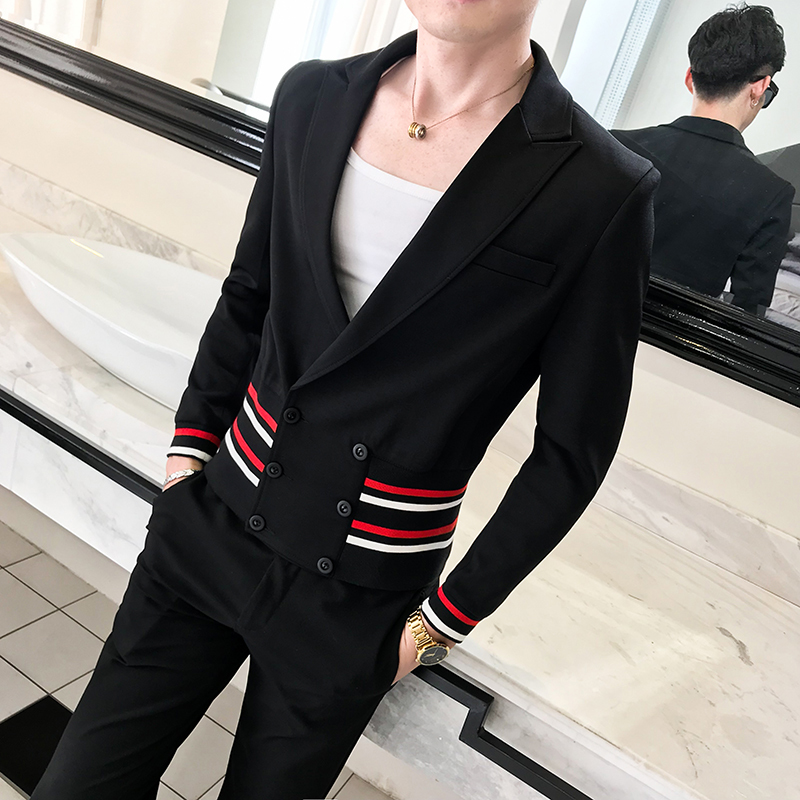 Mens Stylish Blazer British's Style Casual Slim Fit Suit Jacket Men Coat Terno Masculino Veste Costume Homme Deep V Sexy Outfit