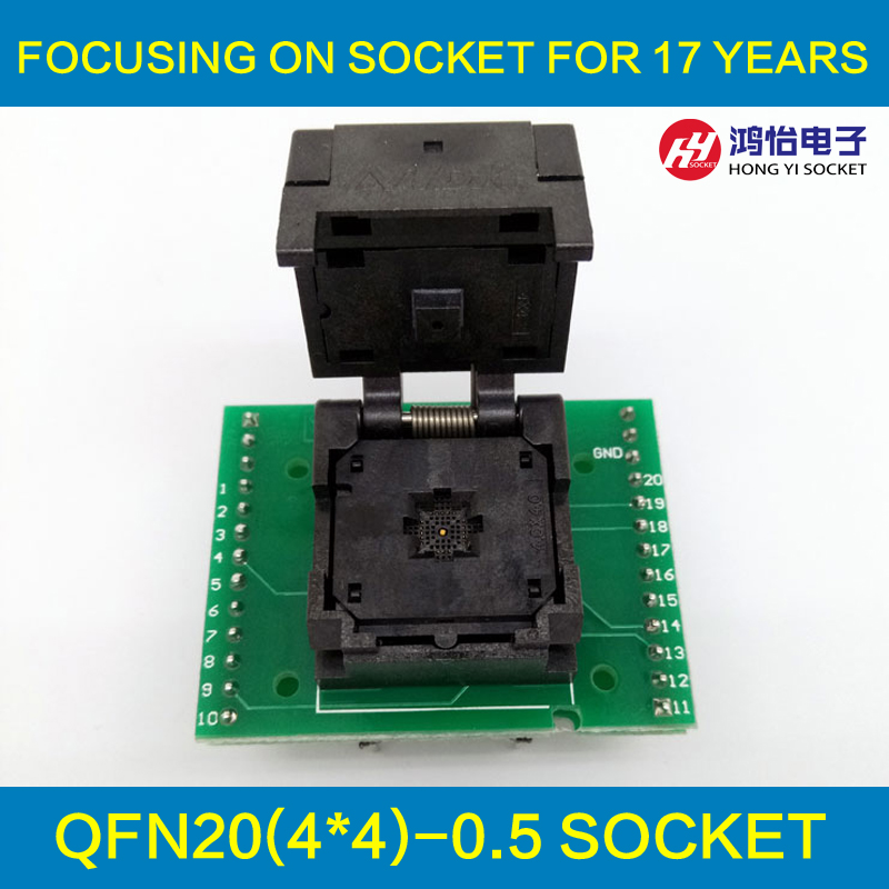 QFN20 MLF20 WLCSP20 to DIP20 Double-Board Programming Socket Adapter Pitch 0.5mm IC Body Size 4x4mm IC550-0204-009-G Test Socket