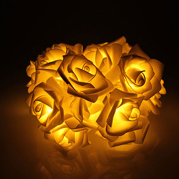 Fashion Light 10 LED Rose Flower String Lights 220V EU Plug Fairy Wedding Party Christmas Holiday Decoration JDH99