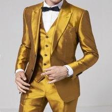 Design de mode Or Hommes de Costume Formel Maigre Étape Costume Blazer  Brillant Personnalisé 3 pièces 1cb0d055226
