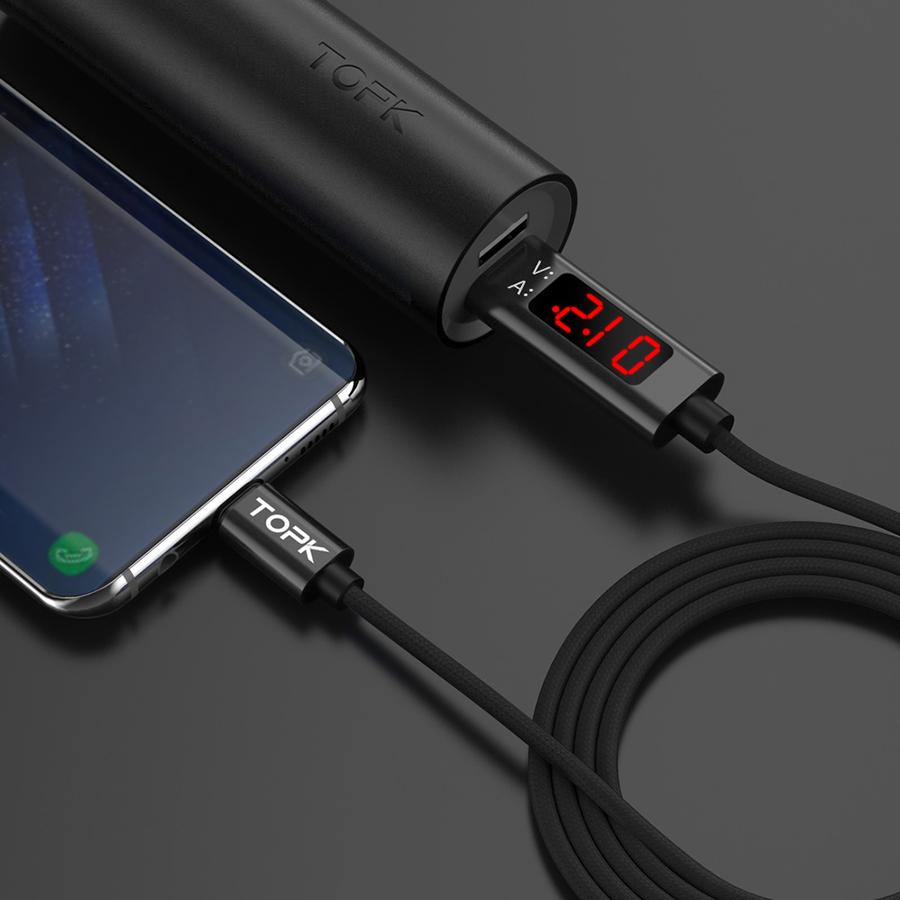 функции topk 1.2 м 3А тип с USB-с кабель, КК 3.0 быстрая зарядка напряжение и ток дисплей прочный нейлон плетеный USB кабель с
