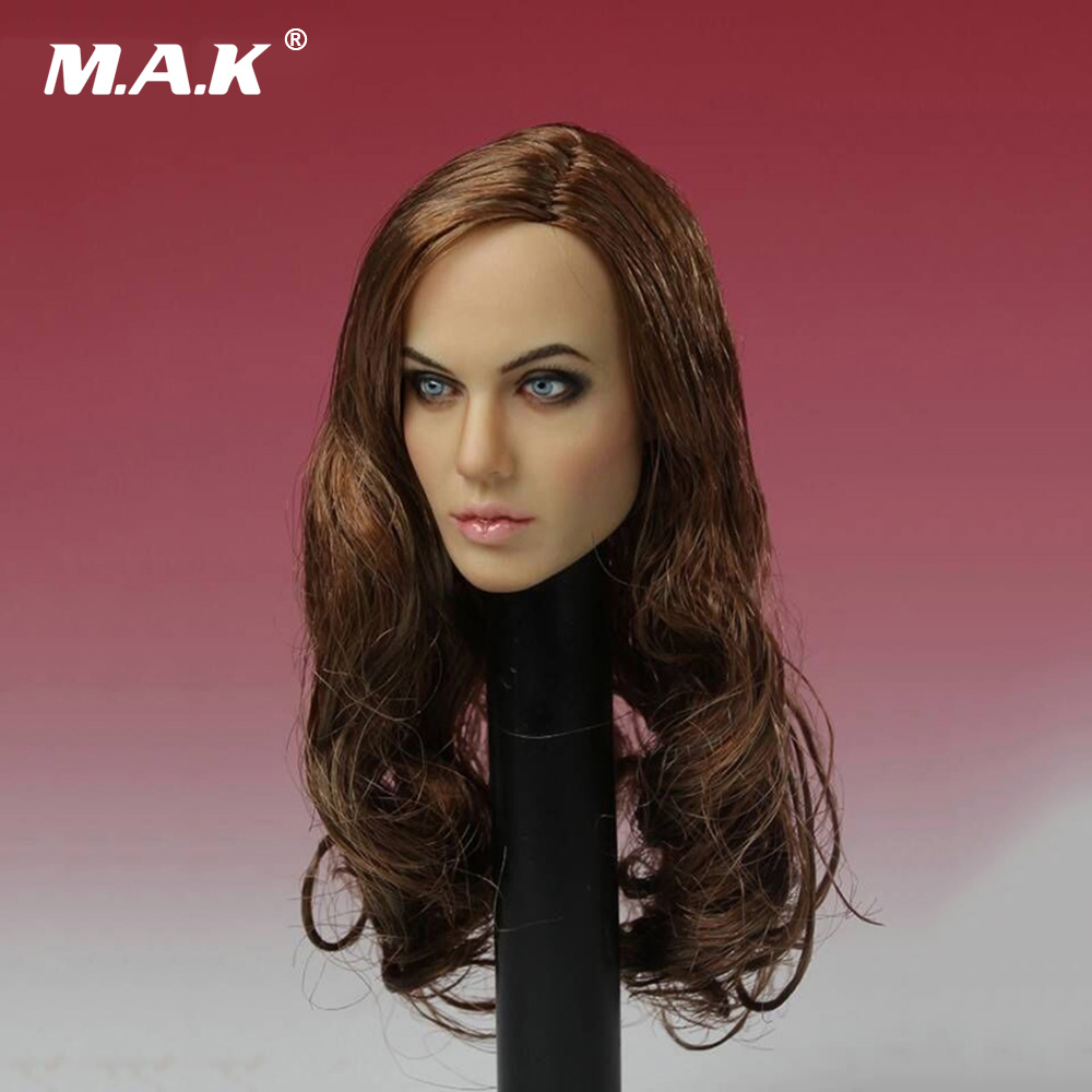 "1//6 CGL Female Angelina Jolie Head Sculpt Brown Curls Carving Model F 12/"" PH Toy"