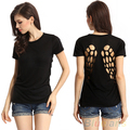 2016 New Sexy Womens Hollow Out Cotton Short Sleeve T-shirt Tops  8MSO