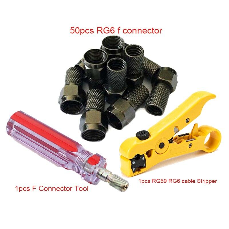 RG59 RG6 F Conector Kit de Ferramentas de Instalação RG59 RG6 coaxial cable Stripper com 50 PCS Preto Torção No RG6 F conector