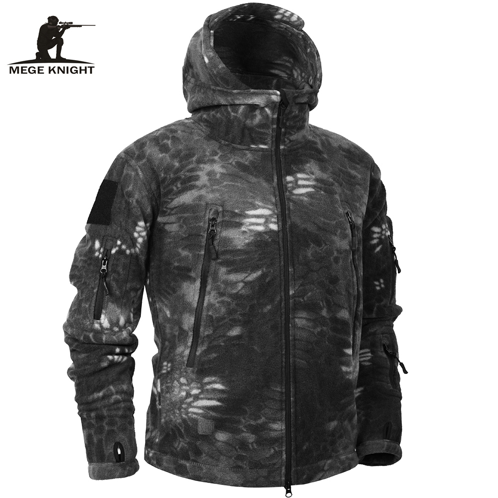 Mege Brand Autumn Winter Military Fleece Camouflage Tactical Men's Clothing Polar Warm Multicam Army Men Coat Outwear Hoodie lurker shark skin soft shell v4 military tactical jacket men waterproof windproof warm coat camouflage hooded camo army clothing