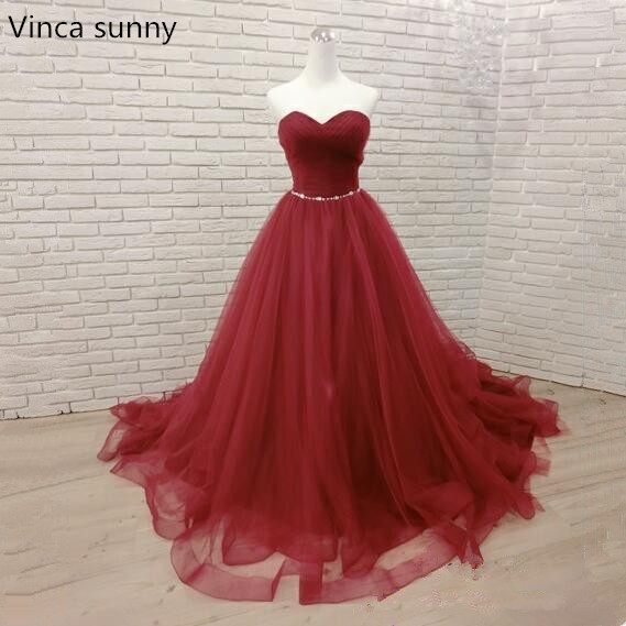 Long Evening Dress 2019 Sexy Wedding Party Dress Long Burgundy Prom Gown tulle Formal Dress Vestido