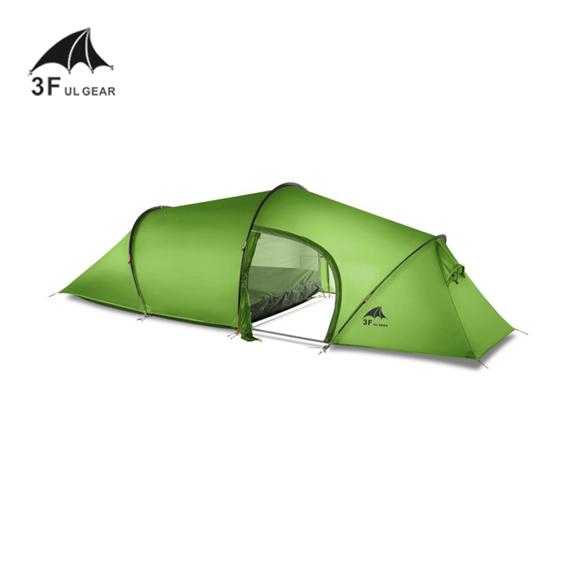 3F UL Gear 2 Person Tunnel Tent 15D Silicone 2 Room Large Tent Outdoor Camping Hiking