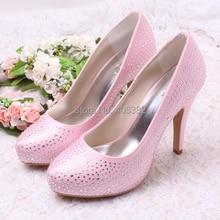 Wedopus MW1311 Comfortable Satin Pink Wedding Shoes with Rhinestones Custom Handmade