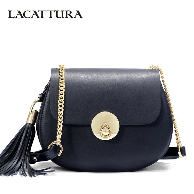 LACATTURA Small Bag Women Messenger Bags Split Leather Handbag Lady Tassels Chain Shoulder Bag Crossbody for Girls Summer Colors все цены