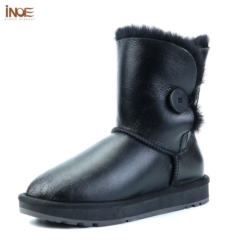 INOE mi mollet imperméable femmes bottes d'hiver avec bouton en peau de mouton en cuir peau de mouton laine fourrure doublée bottes de neige garder au chaud chaussures