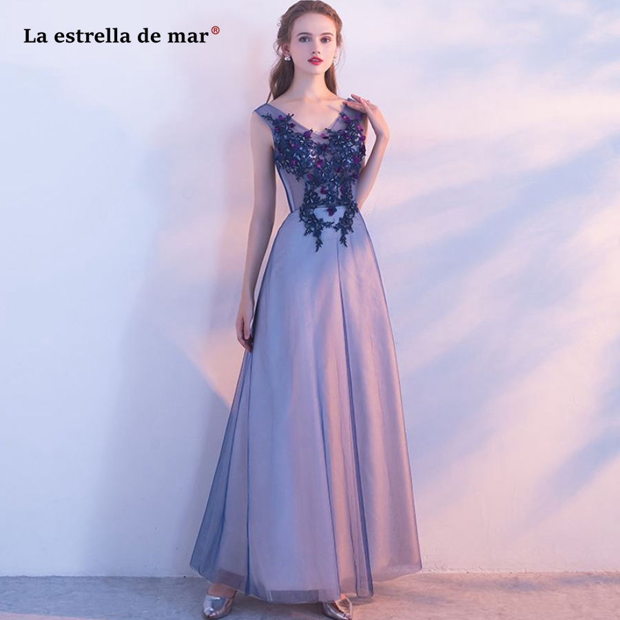 La estrella de mar wedding guest   dress   hot lace beaded sexy V neck back A Line light blue navy blue   bridesmaid     dresses   long plus