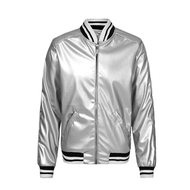 Men Fashion Silver Bomber Jacket Winter Warm Coats Biker