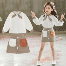 Girls Autumn Clothes Set 2019 Child Fresh Bow Tie Long Sleeve Shirt Top+Vintage Short A-Line Skirt Two-Piece Clothing Suit