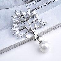 Xihaツリーラインストーンピンとブローチ用ヒジャーブ模造真珠ペンダントbrochesヴィンテージブローチ用女性ウェディングジュエリーx025
