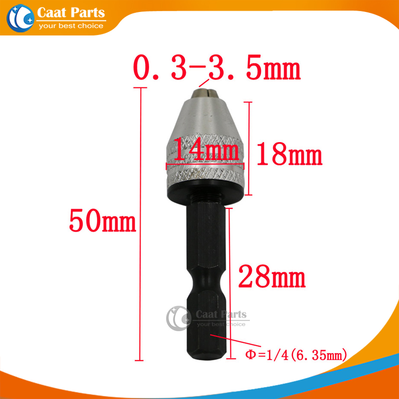 1/4 6.35mm Inch Keyless Drill Bit Chuck Quick Change Adapter Converter Hex Shank Capacity Range 0.3mm-3.5mm Drill Chuck