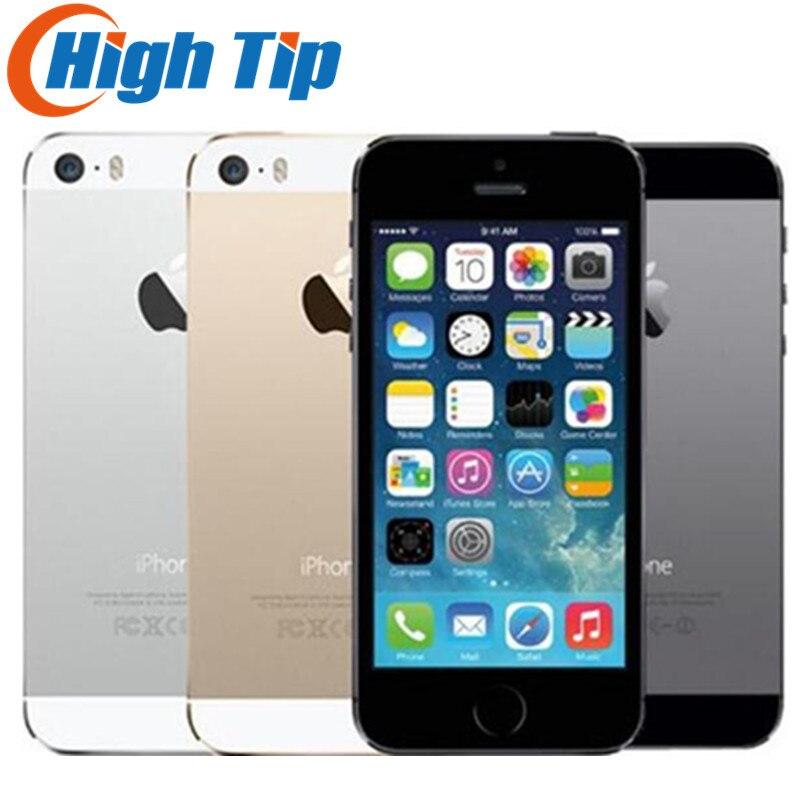 IPhone 5S desbloqueado de fábrica Original 16 GB/32 GB/64 GB ROM 8MP Touch ID iCloud App Store WIFI GPS 4,0 pulgadas huella digital IOS