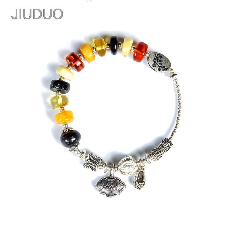 DIY bracelet Natural Quality Blood Perf Amber Tianhe Stone Thailand 925 Sterling Silver Accessories Bracelet RetroDIY bracelet Natural Quality Blood Perf Amber Tianhe Stone Thailand 925 Sterling Silver Accessories Bracelet Retro