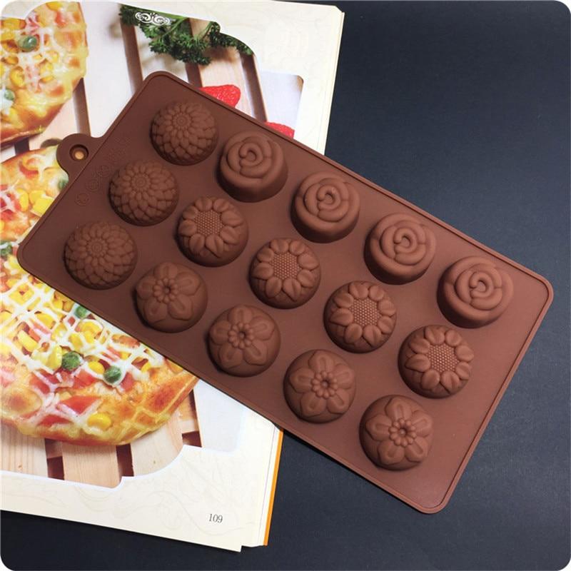 Уникальные четыре вида цветов силиконовая форма для шоколада плесень, лед, кекс, леденец и сахарный инструмент
