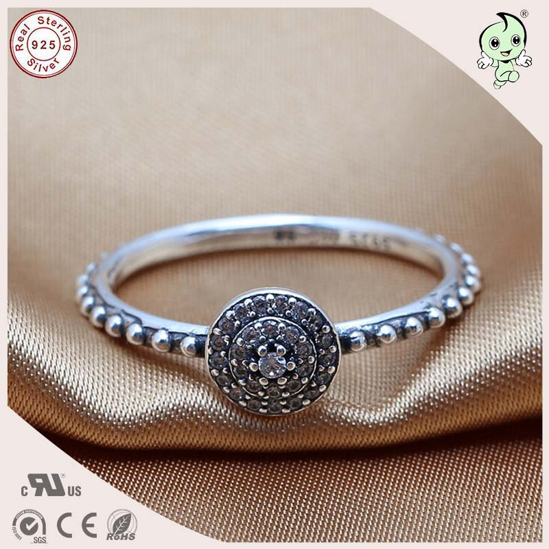 db21448b42 Top Quality Fitting Original Famous Brand Noble CZ Paving 100% 925  Authentic Silver Engagement Ring