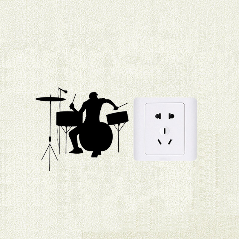 Rock Band Drummer Silhouette Fashion Wall Decal Switch Sticker 5WS1153 image