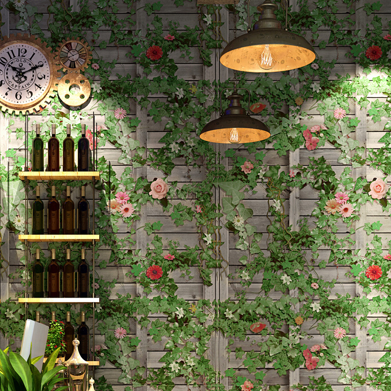 Home Decor Boston: Vintage Green Boston Ivy Grey Brick Wall Papers Home Decor