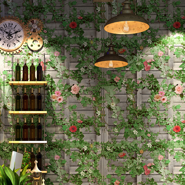 Vintage Green Boston Ivy Grey Brick Wall Papers Home Decor PVC 3 D Wallpaper For Restaurant Walls Papel Mural De Parede