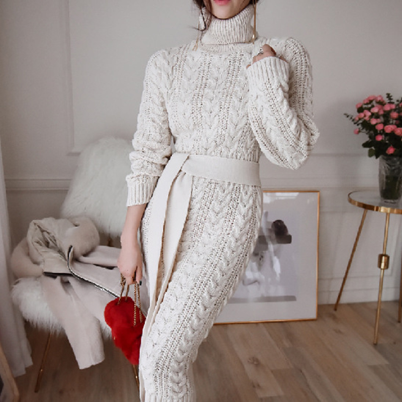 19 Winter Temperament Bursting Elegant Lace Waist Twist High Collar Knit Bottoming Sweater Dress dropshipping 4