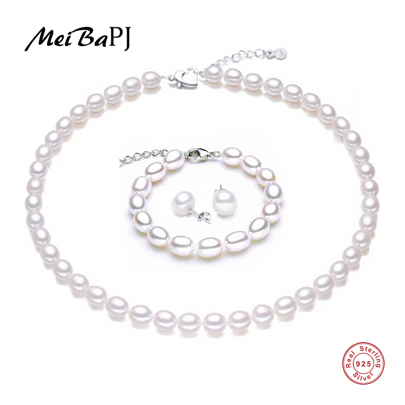 MeiBaPJ 9-10mm Natural Rice Pearl Classic Jewelry Sets 925 Silver Necklace Bracelet Fine Party And Wedding Charm Jewelry TZ-065Y 2 3mm red natural agate necklace multi layers 925 sterling silver with real pearl fine womne jewelry wedding party necklace