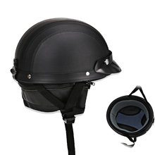 Military Style Retro Half Helmet Motorcycle Men Women Leather Vintage 3/4 Open Face Helmet Scooter Bike Moto стоимость