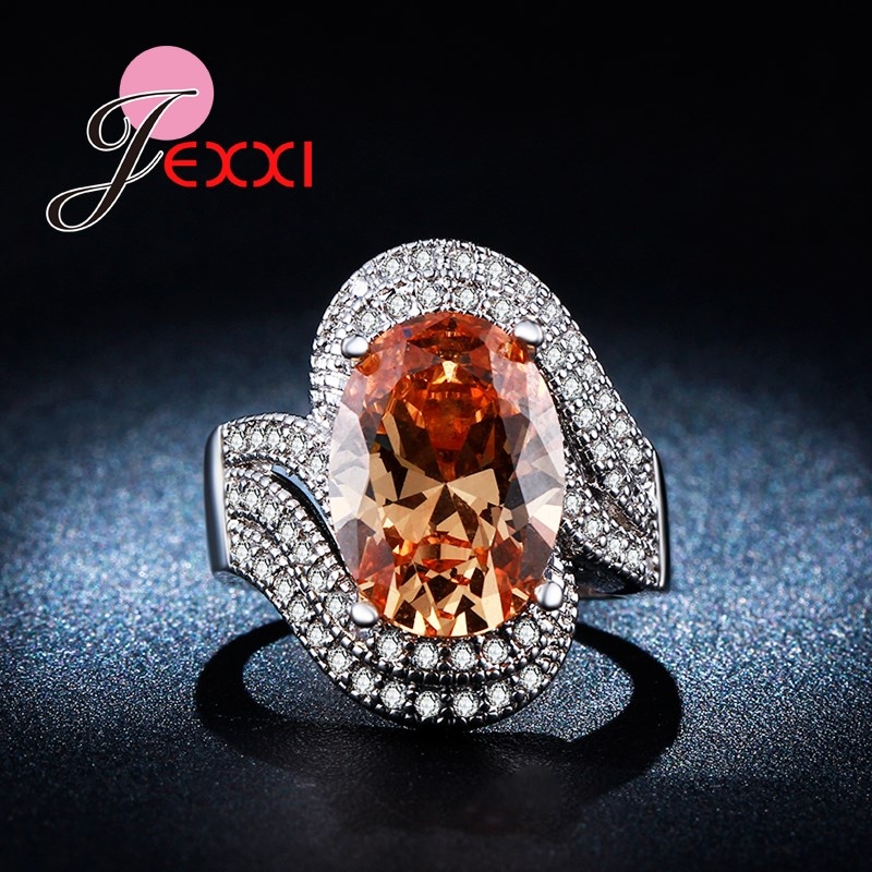 JEXXI Super Luxury 925 Sterling Silver Ring Champagne Oval Cut CZ Fashion Jewelry Engage ...