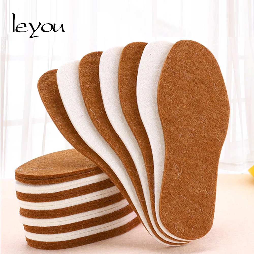Leyou Wool Felt Insoles Heated Foot Warmer Winter Autumn Pads Breathable Insole Shoe for Men and Women