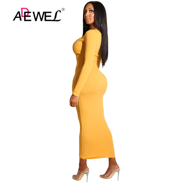 ADEWEL 2018 Sexy Yellow Long Sleeve Bodycon Party Maxi Dress Women Casual Slim Snap Button Ribbed Ankle Length Long Dress 1