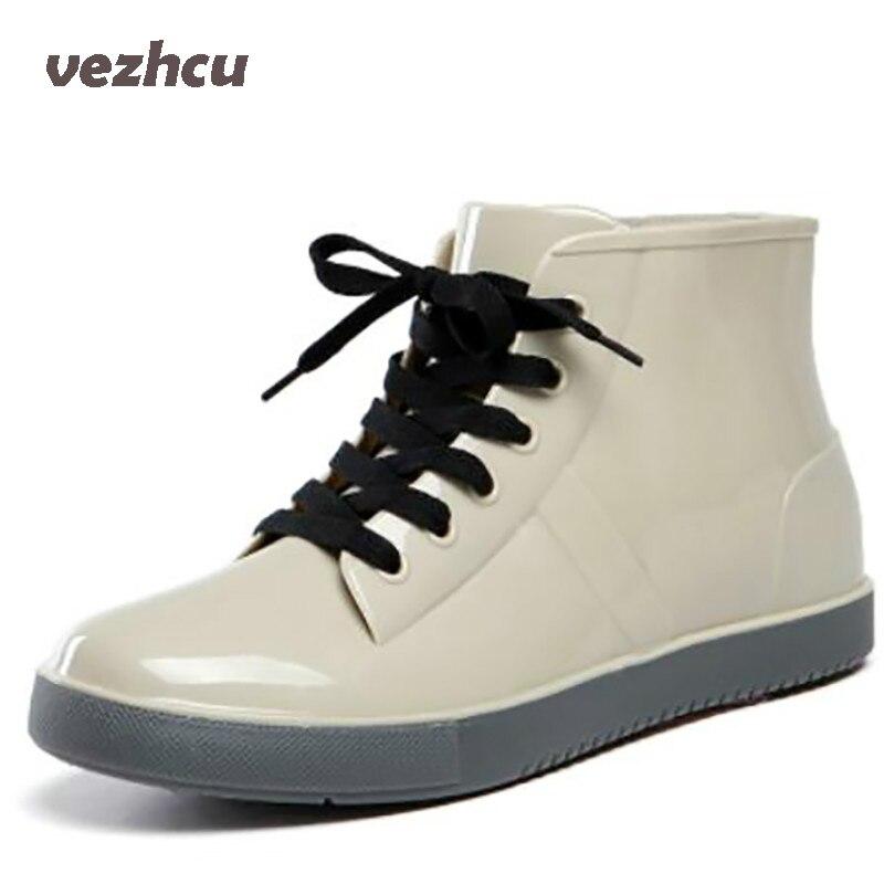 VZEHCU New Rain Boots Fashion Women Lace Up Flats Shoes Casual Women Platform Shoes Ankle Boots Size 35-40 9d01 цены онлайн