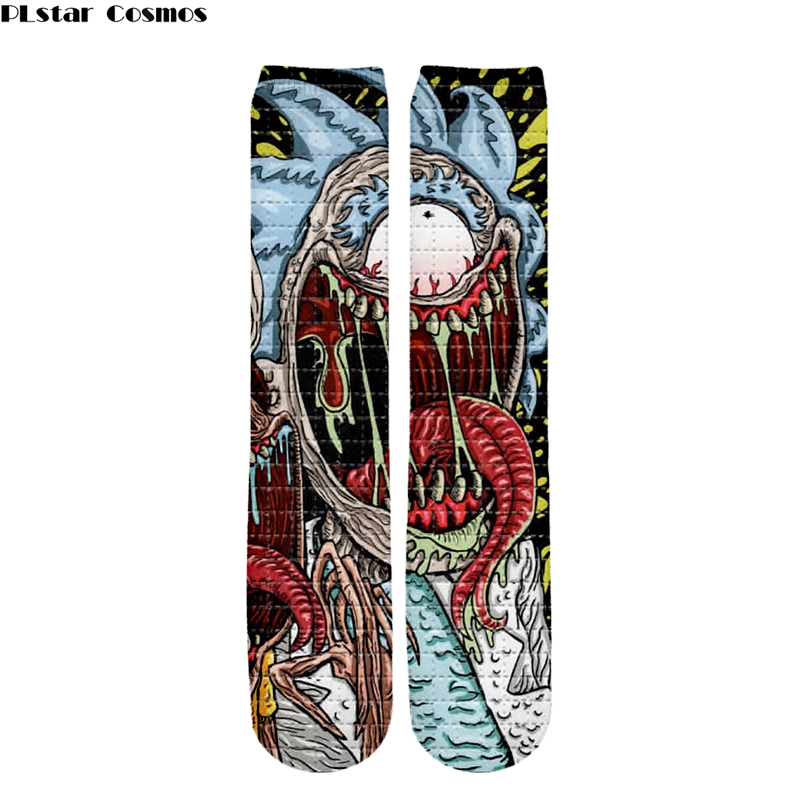 Men/women Anime Venom With Rick And Morty 3D Printing Crew Socks Cartoon Stockings Tight Fashion Unisex Hose New Summer Autumn